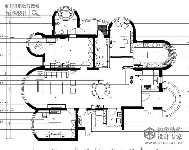 户型解析 > 苏宁滨江壹号d户型238平米  原始结构图↓